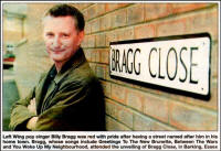 "Picture of Billy next to a sign saying ""Bragg Close"", in Barking, Essex"